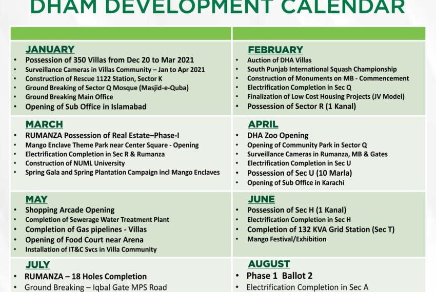 Development Calendar for DHA Multan 2021